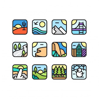 Zestaw ikon środowiska kolekcja wektor