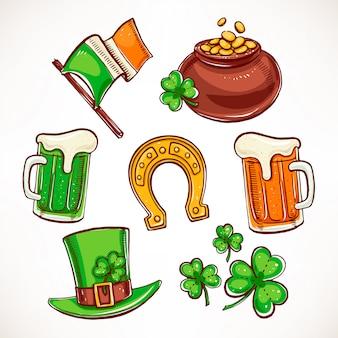 Zestaw ikon st patrick `s day. garnek złota, szklanki piwa, liście koniczyny