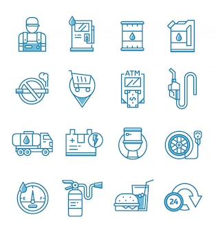 Zestaw ikon stacji benzynowej i benzynowej w stylu konspektu