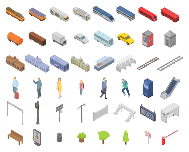 Zestaw ikon stacji kolejowej, izometryczny styl
