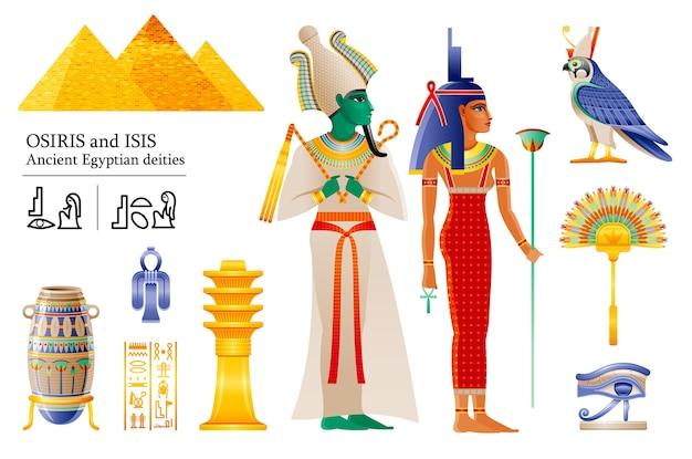Zestaw ikon starożytnego egipskiego boga faraona ozyrysa bogini izydy. wachlarz, wazon, kolumna djeda, węzeł, sokół bóstwa horusa, wadjet.