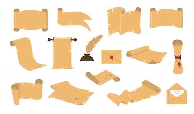 Zestaw ikon starożytnych zwojów kreskówek