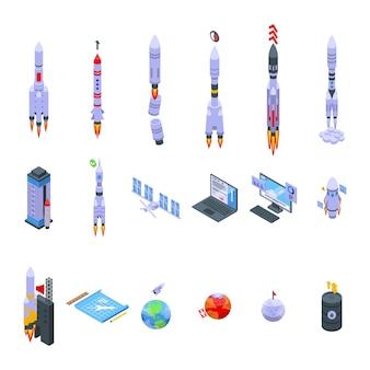 Zestaw ikon startu statku kosmicznego izometryczny wektor. okręt rakietowy. kosmos przyszłość