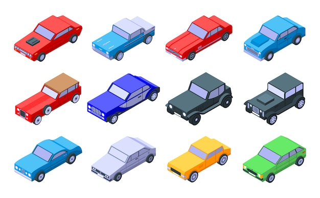 Zestaw ikon starych samochodów, izometryczny styl