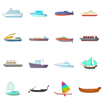 Zestaw ikon statków i łodzi