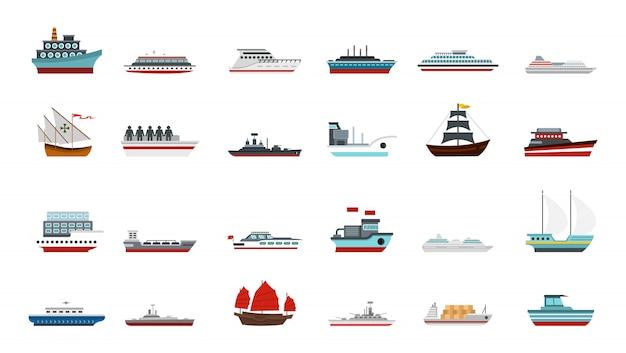 Zestaw ikon statku. płaski zestaw statek wektor zbiory ikon na białym tle