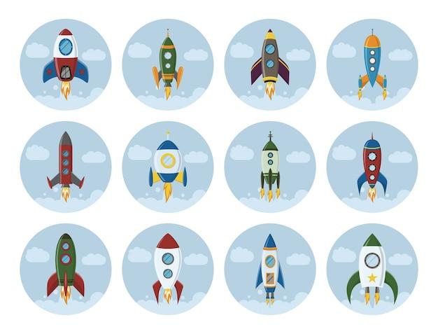Zestaw ikon statku retro rakiety kosmicznej w płaskim stylu elementy projektu tła z kreatywnym pomysłem na uruchomienie projektu i proces rozwoju