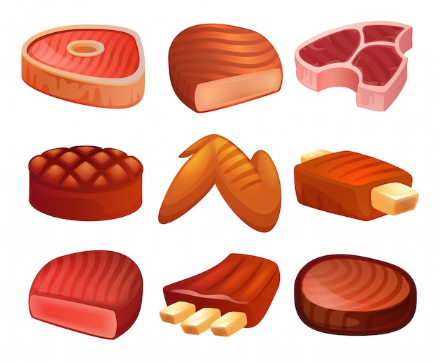 Zestaw ikon stek. kreskówka zestaw stek wektor