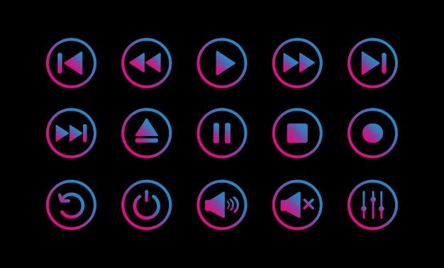 Zestaw ikon sterowania odtwarzaczem multimedialnym.