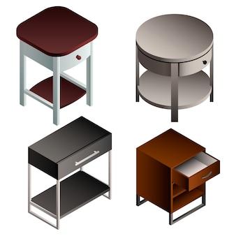 Zestaw ikon stolika nocnego. izometryczny zestaw stolika nocnego