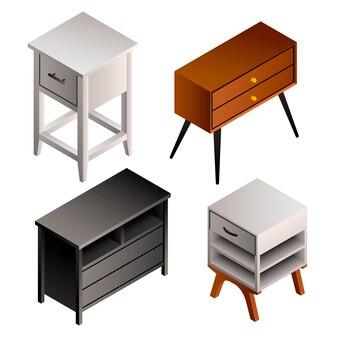 Zestaw ikon stolika nocnego. izometryczny zestaw szafki nocnej