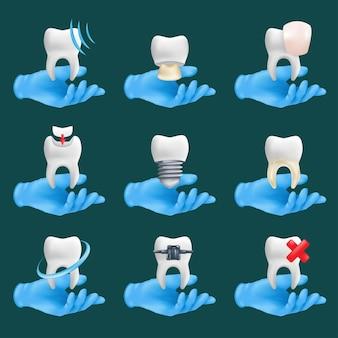 Zestaw ikon stomatologicznych z różnymi elementami. 3d realistyczne dłonie dentysty w niebieskich ochronnych rękawiczkach chirurgicznych z ceramicznymi modelami zębów