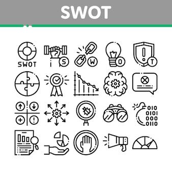 Zestaw ikon strategii analizy analizy swot