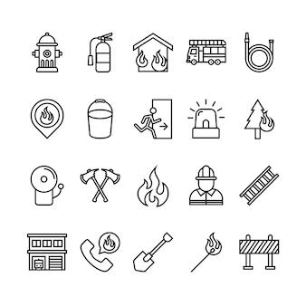 Zestaw ikon strażak