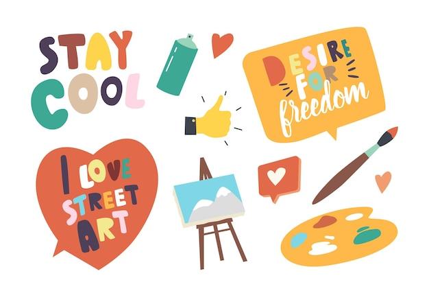 Zestaw ikon street artist tematu. balon w aerozolu, paleta z farbami i pędzlem, sztaluga z obrazem na płótnie, kciuk w górę i zachowaj spokój typografii