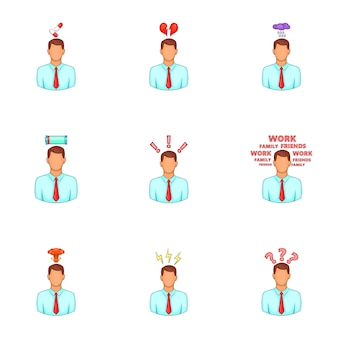 Zestaw ikon stresu i depresji, stylu cartoon