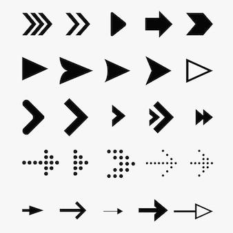 Zestaw ikon strzałek. wektorowe ikony wskaźników dla elementów nawigacji internetowej.
