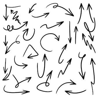 Zestaw ikon strzałki wyciągnąć rękę na białym tle. ilustracja wektorowa zbiory.