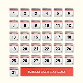 Zestaw ikon stycznia kalendarz