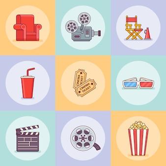 Zestaw ikon stylu płaskiej linii kina lub filmu.