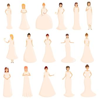 Zestaw ikon sukni ślubnej. kreskówka zestaw ikon sukni ślubnych