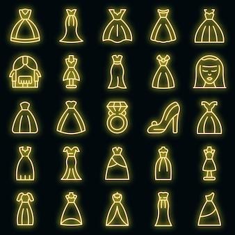 Zestaw ikon sukni ślubnej. zarys zestaw ikon wektorowych sukni ślubnej w kolorze neonowym na czarno