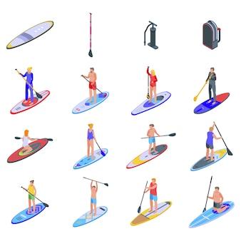 Zestaw ikon sup surfing.