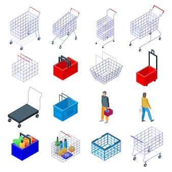 Zestaw ikon supermarket koszyka