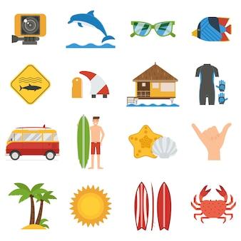 Zestaw ikon surfowania. letnia kolekcja elementów i akcesoriów do desek surfingowych.