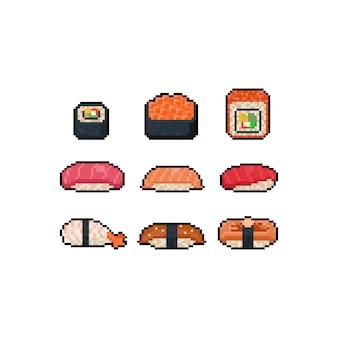 Zestaw ikon sushi kreskówka pikseli sztuki.