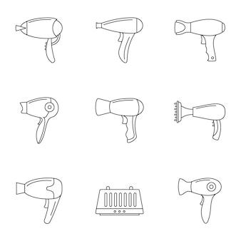 Zestaw ikon suszarki do włosów