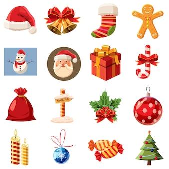Zestaw ikon świątecznych, izometryczny styl 3d