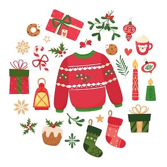 Zestaw ikon świątecznych ze swetrem, świecami, bombkami, piernikiem, lampionem, gałęziami, babeczkami, jemiołą, prezentami, skarpetkami świątecznymi, kubkiem. kolekcja do scrapbookingu.