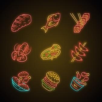 Zestaw ikon światła neonowego menu restauracji