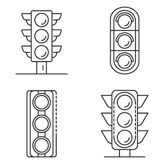 Zestaw ikon światłach. zarys zestaw ikon wektorowych sygnalizacji świetlnej