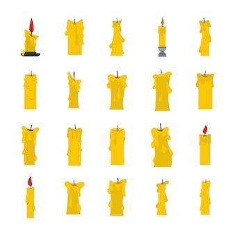 Zestaw ikon świec. płaski zestaw świeca wektor zbiory ikon na białym tle