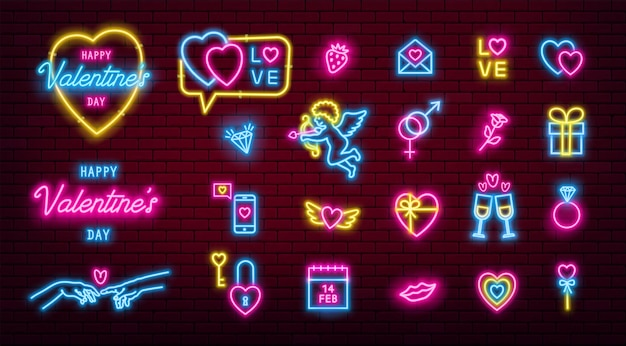 Zestaw ikon świecących neonowych walentynek.