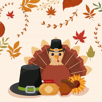 Zestaw ikon święto dziękczynienia z liści jesienią