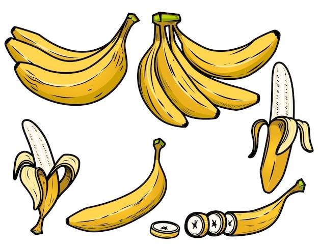 Zestaw ikon świeżych bananów.