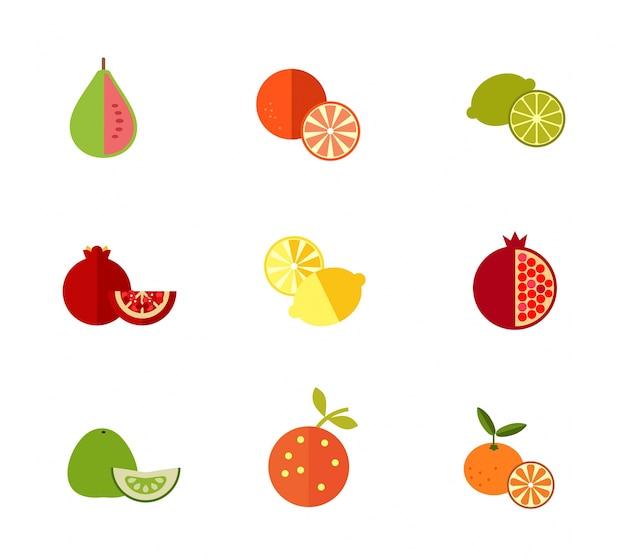 Zestaw ikon świeżych owoców