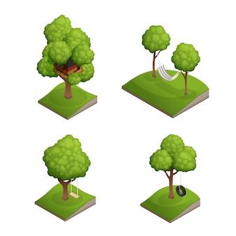 Zestaw ikon swing drzewa