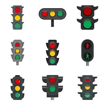 Zestaw ikon sygnalizacji świetlnej