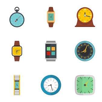Zestaw ikon sygnału zegara, płaski