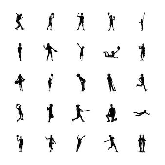 Zestaw ikon sylwetki sportowe na świeżym powietrzu