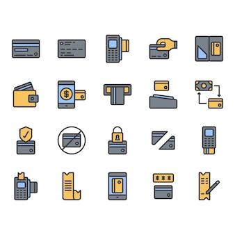 Zestaw ikon symbol karty kredytowej