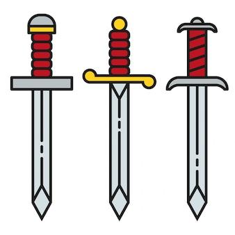 Zestaw ikon symbol miecza