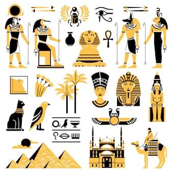Zestaw ikon symboli egiptu dekoracyjne