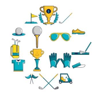Zestaw ikon symboli golfa, stylu cartoon