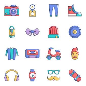 Zestaw ikon symboli hipster
