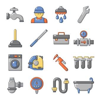 Zestaw ikon symboli hydraulik